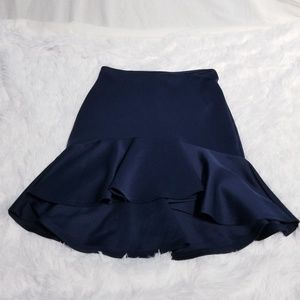 Navy blue hi low ruffle skirt Forever 21 size Med